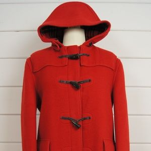 Gloverall Duffle Coat Wool Hooded Red 12 Horn